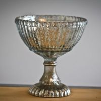Medium Mercury Glass Pedestal Bowl