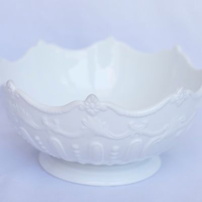 White China Bowl with Embossed Detail