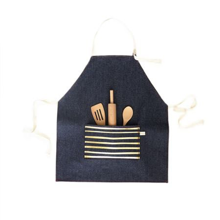 Kids Denim Gold Striped Apron + Tools