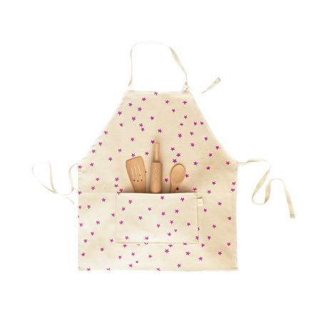 Kids Natural Pink Stars Apron