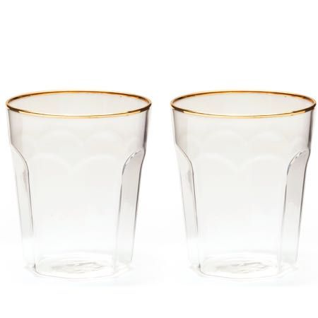 Gold Rimmed Double Old Fashioned Glass Set of 4